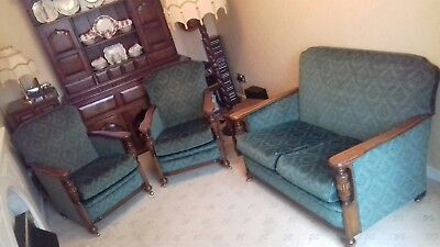 1920's settee and chairs 3 piece suite PROFESSIONALLY REFURBISHED