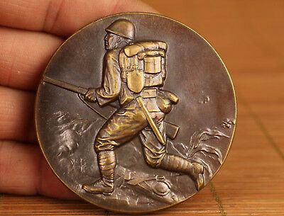 old Bronze Hand Carved Japan WWII(Second World War) soldier Coin Statue
