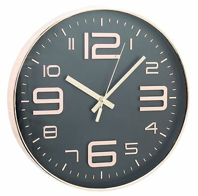 Embossed Round Wall Hanging Copper Clock 30cm ~ Black