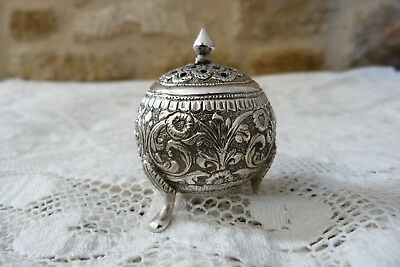 Unmarked White Metal Silver Indian Kutch Pot Round 3 Footed Box Screw in hole