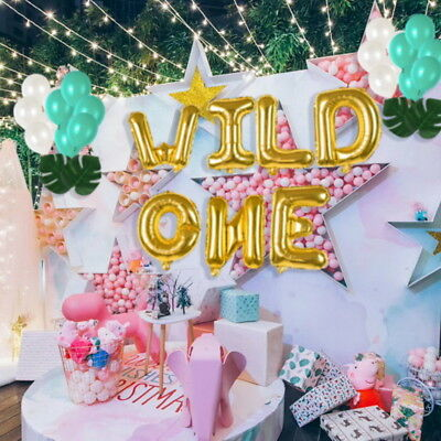 16 WILD ONE Kids First Birthday Balloons Baby Girl Boy 1St Bday Party Supply OJ