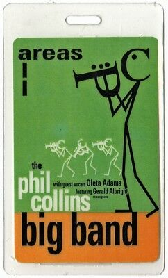 Phil Collins authentic 1998 concert Laminated Backstage Pass Big Band Tour AA
