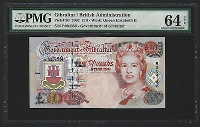 2002 Gibraltar 10 Pounds, Scarce Modern Issue, P-30 PMG 64 EPQ UNC, Low Serial #