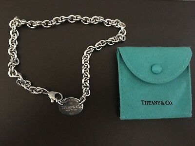 Return to Tiffany & Co Oval Tag Chain Necklace Choker 925 Sterling Silver