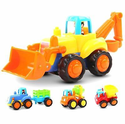 Friction Powered Cars Push and Go Toys Car 4 Construction Vehicles Toys Set