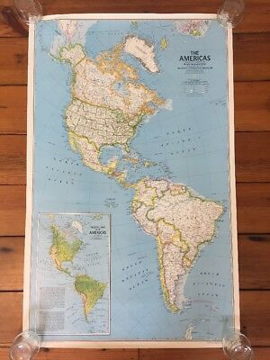 Vintage 1979 National Geographic North South Americas Political Physical Map