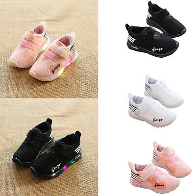 Kids Boys Girls LED Mesh Shoes Sports Sneakers Snap Closure Christmas Shoes