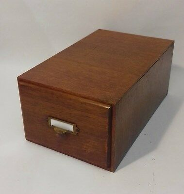 Vintage Oak Index Card Holder with Copper Pull Inc wood card seperator