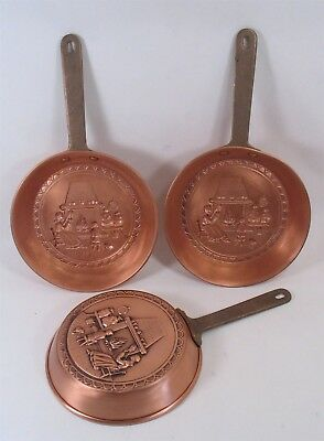 """3 Hearth scene Copper pan mold 10-1/2"""" hanging w/brass handle, Never used decor!"""
