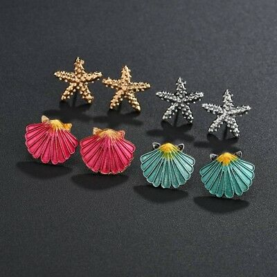 4Pairs Boho Assorted Stud Earrings Colorful Sea Shell Starfish Beach Jewelry New