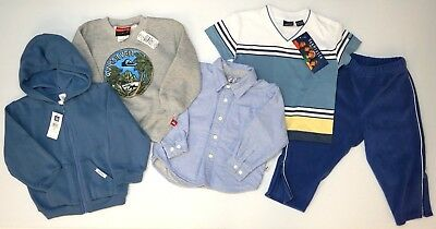 NWT LOT OF 5 PANTS SHIRTS HOODIE SWEATSHIRT Quiksilver Baby Gap Boys 3T Blue NEW