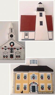 Cats Meow Village Houses Maine Christmas Lot Lighthouse Damariscotta Church