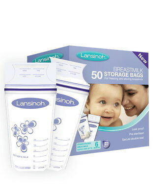 Lansinoh New & Improved  Pre-sterilised Breastmilk Storage Bags Pack of 50