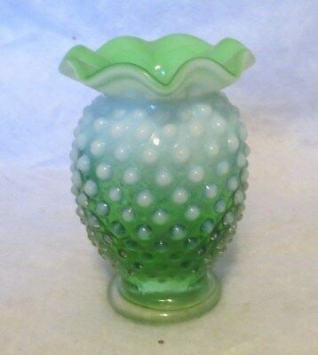 Vintage Fenton Green Glass Hobnail Opalescent Ruffled 3 34 Inch
