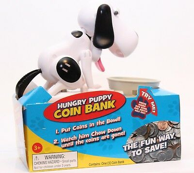 Hungry Puppy Coin Bank - Black & White Dog Piggy Back Money Saving Eats When Fed