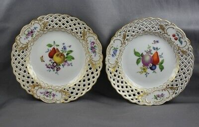 Meissen China Insect Fruit Flower Bread & Butter Plate Pair