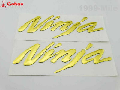 Ninja Emblem 3D Gold Raised Sticker Decal Kawasaki Z1000 ZX-6R ZX 10R ZX-14R 250