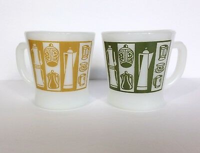 2 Vintage Fire King Coffee Cups Diner 70's Kitchen Green Olive Ochre Yellow