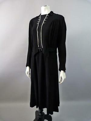 Original 1930s black and white dress with Art Deco buttons - UK 10 / 12