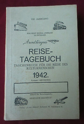 Old German Reisetagebuch-Travel Diary-1942.Printed in Hungary,WW2 WWII Not Used