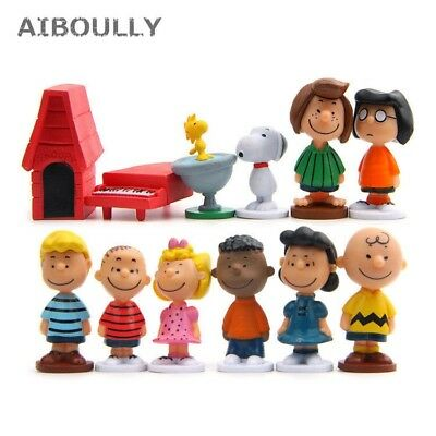 12pcs/pack Cut Anime Peanuts Figurine Charlie Brown And Friends Beagle Woodstock