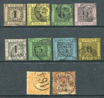 BADEN GERMAN STATES Used Lot 10 Stamps High cat