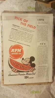 Vintage Nice 1940's  Disney Mickey Mouse Rpm Oil Ad.