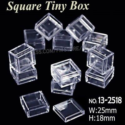 25x18mm Tiny Square Box Clear Plastic Storage for DIY Tool Nail Art Jewelry Acce