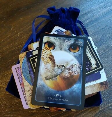 100 MIXED Lot of Tarot & Oracle Cards in a BLUE Velvet Bag OCCULT ART Ideas!