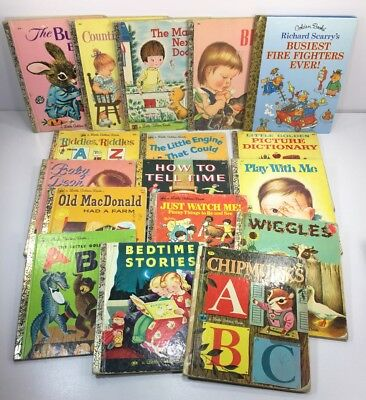 Lot of 17 Little Golden Books Vintage 70's Engine that Could Wiggles Bed Time