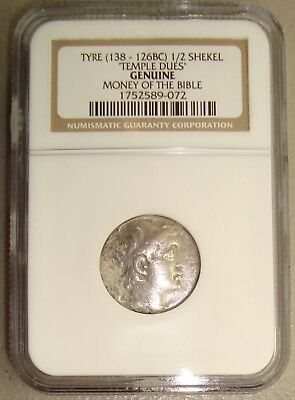 138-126 BC Tyre Ancient Greek Silver 1/2 Shekel NGC Genuine Money of the Bible