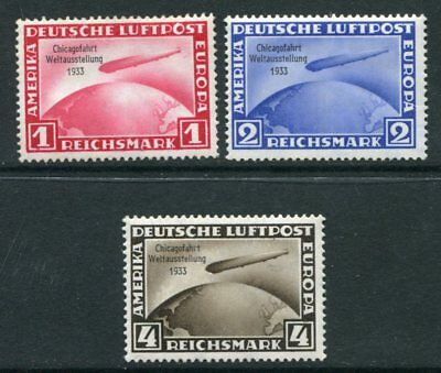 GERMANY 1933 AIRMAIL ZEPPELIN MLH Set 3 Stamps Mi cat EURO 1200