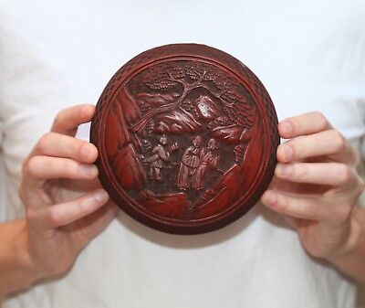 Antique Chinese carved Red Cinnabar Lacquer Melon Box, QING Dynasty, SUPERB.