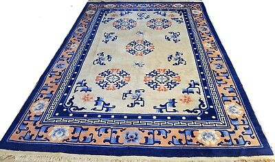 Rare antique Chinese rug circa 1920, natural colors and traditional design+++