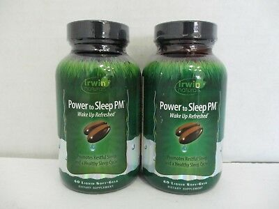 2 Irwin Naturals Power To Sleep Pm Wake Up Refreshed 60 Each Exp 12/18+ De 7804