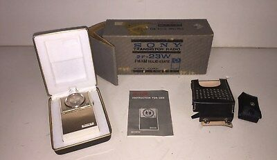 Sony 2F-23W Tiny AM FM Pocket Transistor Radio Complete NEW in Box all access's