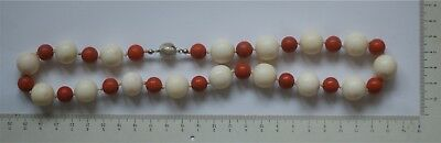 art deco mixed coral necklace, Art Deco weiss, lachsrote Korallenkette 14 KT