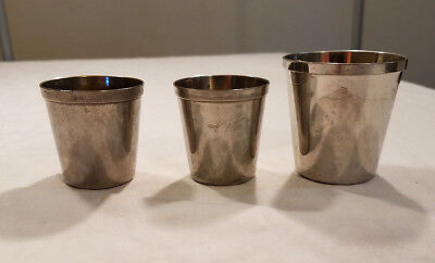 3 Vintage Metal Nesting Shot Glasses Made in Germany US Zone Post WWII 1945-1950