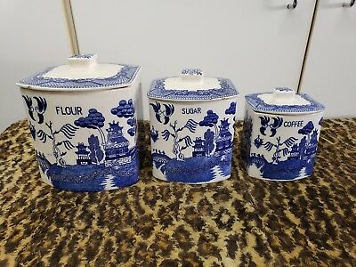 Vintage, Rare, Japan, 6-pc Blue Willow China Canister Set