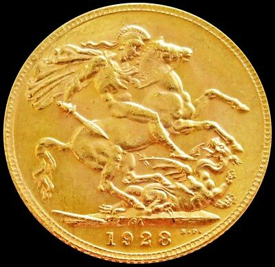 1928 Sa Gold South Africa King George V Sovereign Coin Mint State Condition