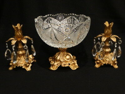 Antique Imperlux Cut Crystal & Gold Metal Compote w/Two 8 Prism Candle Holders
