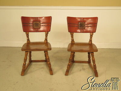 37415E: Pair ROMWEBER Viking Oak Leather Back Dining Chairs