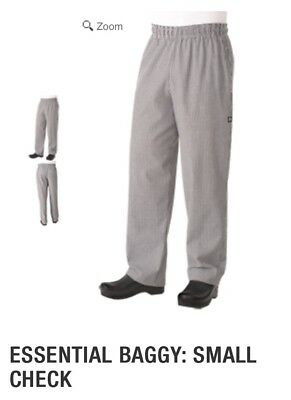 Chef Works Kitchen Cook White Black Checkered Pants Large
