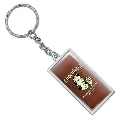 Chocolate More Satisfying Than Any Man Heart Love Metal Keychain