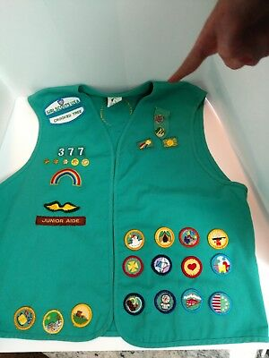 Official Girl Scout Vest with 48 Badges and Patches Large Size Northern Michigan