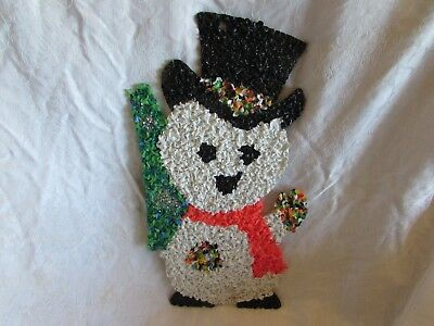 vintage 1960s Christmas SNOWMAN WINDOW DECORATION melted plastic popcorn 8x17