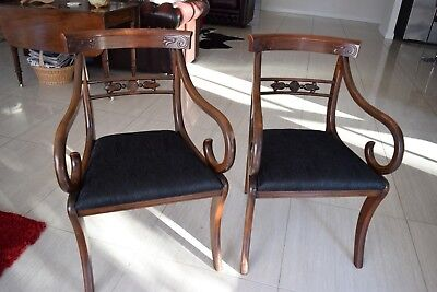Antique Pair Carver Dining Chairs