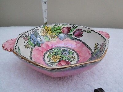 Maling Pottery Springtime Pink Double Handled Bowl Excellent Condition