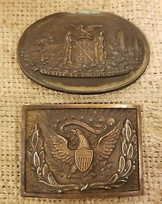 2 Buckles. Eagle Officer's Sword Plate + Maryland State Seal Oval Buckle