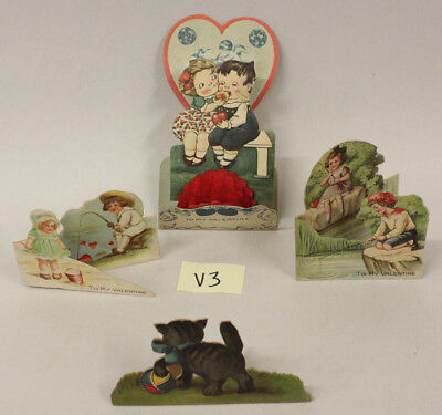 Antique Valentines, Lot 3, Fold out 3-D, Standees
